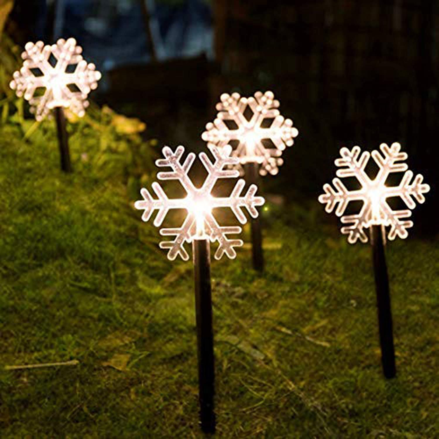 FUCHSUN Christmas Pathway Lights Decorative Garden Display LED Light 5 Pieces Warm White Battery Operated for Indoor and Outdoor Holiday Decoration-Snowflakes