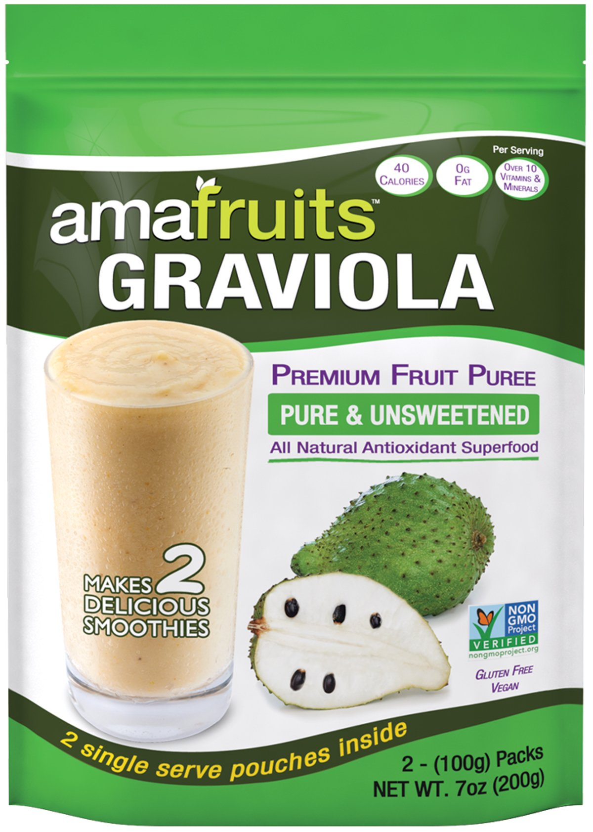 Amafruits 10 Bag Bundle of Graviola Fruit Pulp
