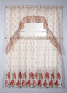 3PC Rod Pocket Printed Kitchen Curtain Tier Swag Valance Set Kitchen Decor Bathroom Window Curtain Window Treatment Panels 36 INCH Curtains( Apple Orchard )