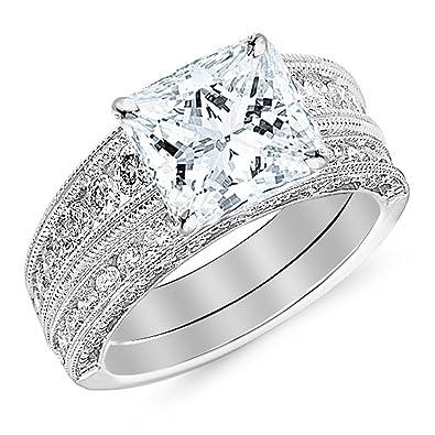 ea07bc91e Platinum 1.6 CTW Princess Cut Antique/Vintage Style Channel Set Round Diamond  Engagement Ring Milgrain