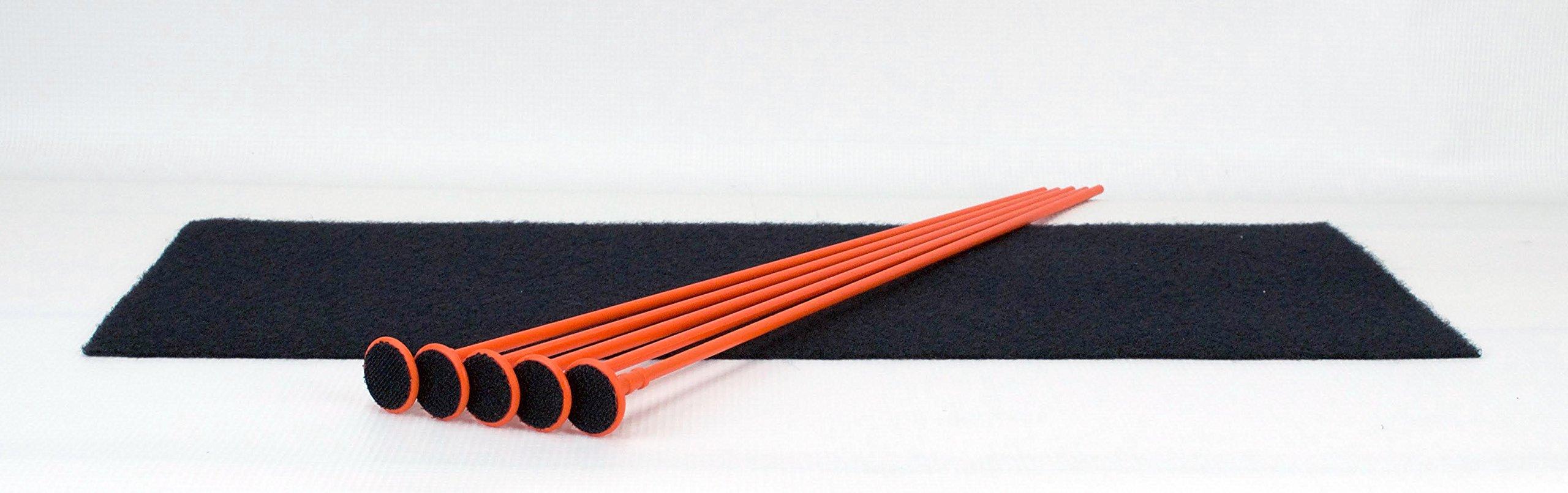 Gun Storage Solutions Rifle/Shotgun Plastic Kit and Shelf Liner - Rack for Gun Cabinet, Gun Safe Organizer Accessory, Includes 5 Orange 16-Inch Rods and 15'' x 19'' Black Woven Nylon Loop Fabric by Gun Storage Solutions
