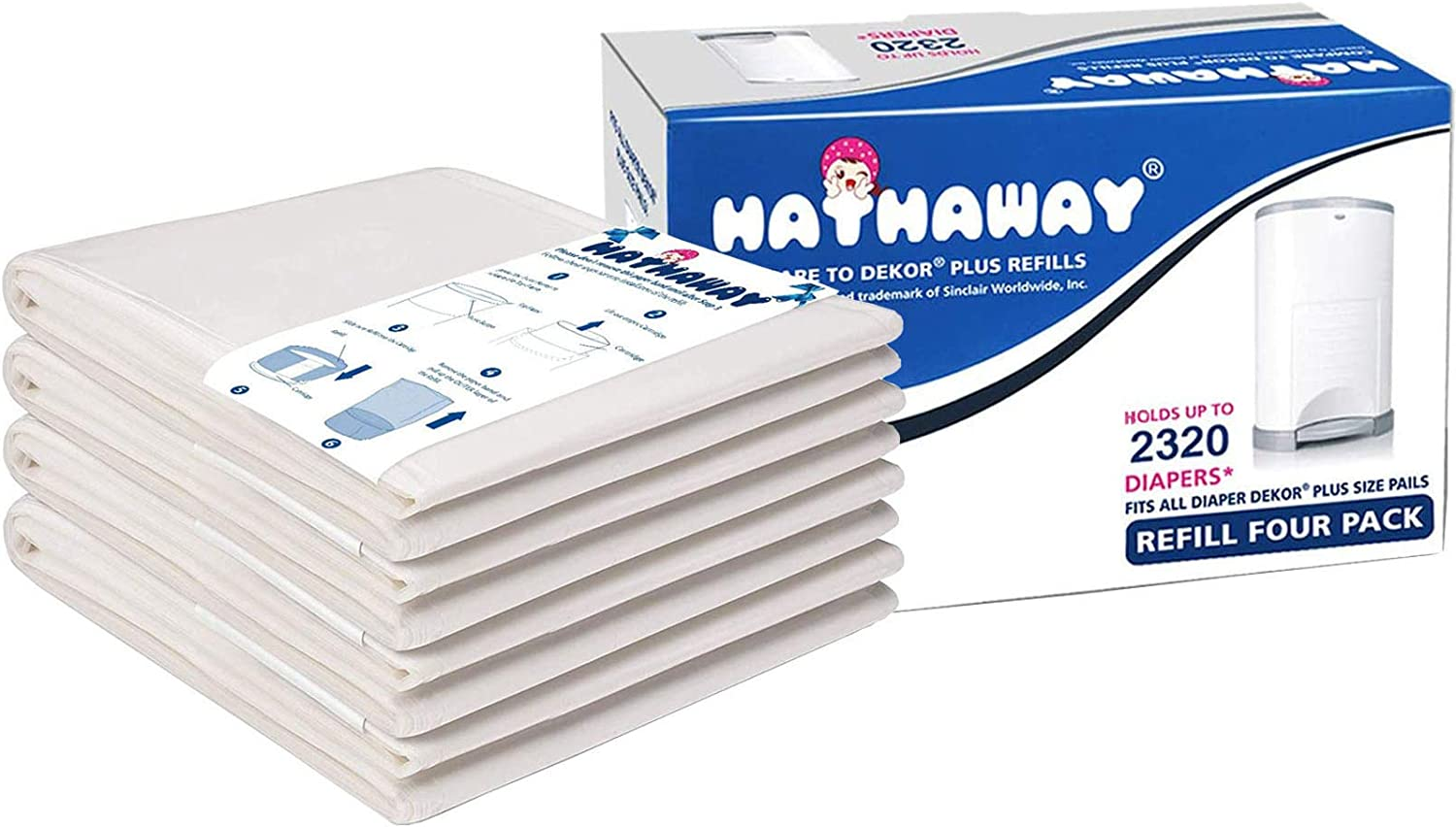 Nappy Liners Diaper Sacks 4 Pack Hold Up to 2320 Diapers Nappy Bin Refills Cassettes Nappy Bags Disposable for 26L Korbell Plus