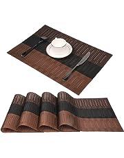 Sets de table Famibay Lavables Sets de Table Bambou Lot de 4 Rectangulaires Plastique PVC Sets de Table Vintage