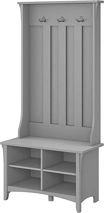 Bush Furniture Salinas Hall Tree with Storage Bench in Cape Cod Gray
