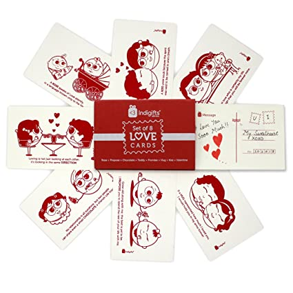 indibni valentine day gift love story postcards set of 8 4x6