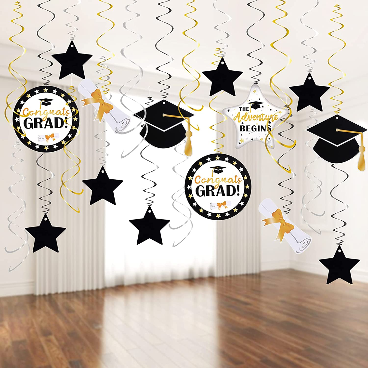 Graduation Decorations 2021 Graduation Party Supplies 2021 Graduation Party Hanging Swirl Grad Decor 2021 Grad Decorations Congrats Grad Gold Black Silver Hanging Swirl Already Assembled by HappyField