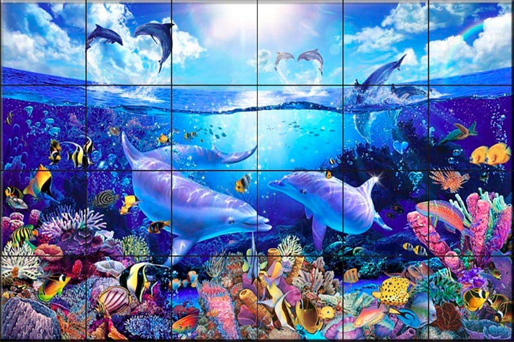 Ceramic Tile Mural - Day of The Dolphins- by Christian Riese Lassen - Kitchen backsplash/Bathroom Shower