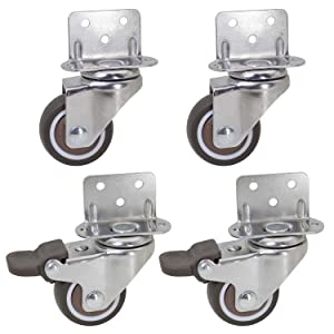 Dr.Luck 1.5 Inch L-Shaped Plate Swivel Caster Combo, TPR Rubber Wheel Metal Housing Caster L-Clip Side Mount Plate for Furniture, 4 Pack Total Load Capacity 156Lbs/71Kg - 2 Swivel & 2 Swivel w/Brake