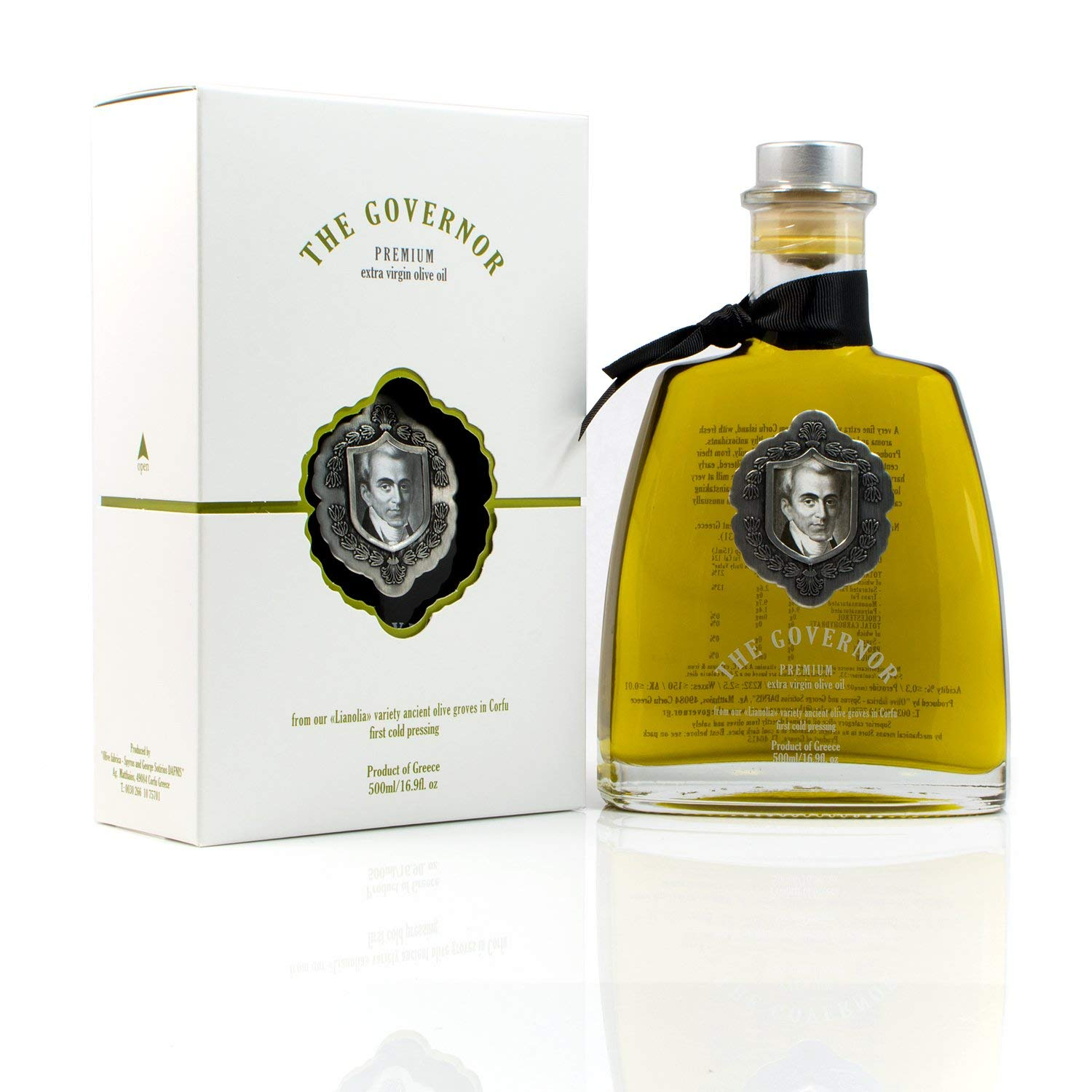 The Governor Premium Extra Virgin Olive Oil - Unfiltered, Cold-Pressed, Single Origin Lianolia - Peppery, Robust, Floral, Fruity Notes - Rich in Natural Polyphenols, Oleocanthal, Antioxidants, 500ml