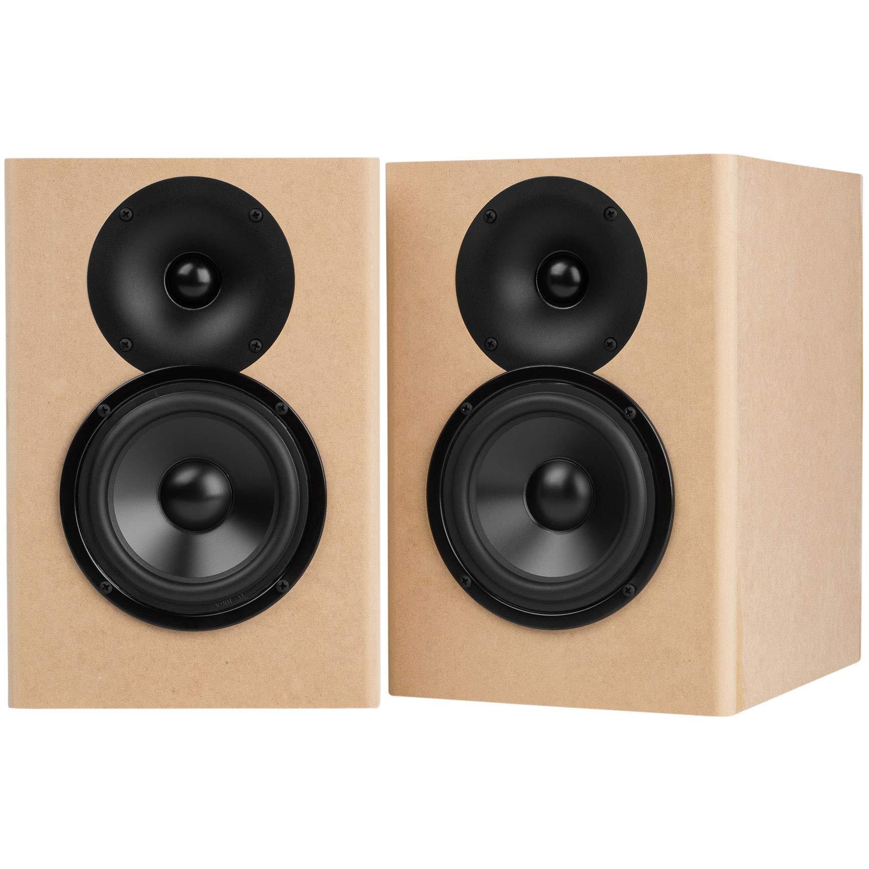 SwansKits Braced Wooden Cabinet DIY 2.2A Black Pair HiVi 2-Way Bookshelf Speaker Kit 2-Year Warranty