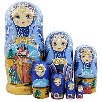 Holzpuppen 5 Stück handbemalt süße Mädchen aus Holz russischen Matrjoschka Set