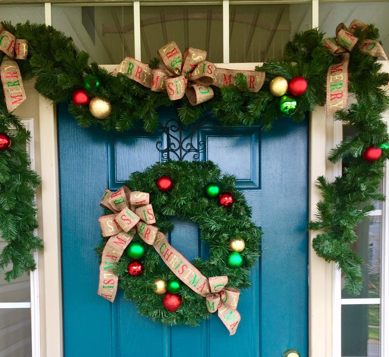 Gorgeous Wreath Matching Garland Set With Christmas Ribbon
