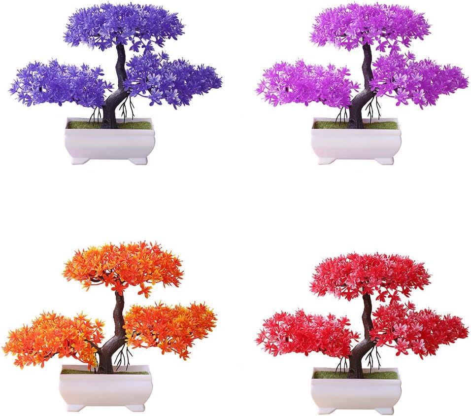 Bangle009 Kunstpflanze in Bonsai-Optik Dekoration Rose Topfpflanze