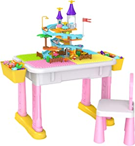 6-in-1 Kids Multi Activity Table Set, Building Blocks Toy Compatible Storage Table for Toddlers Learning & Playing, Water & Sand Game Activities, Includes 1 Chair and 84 Pieces Large Building Blocks