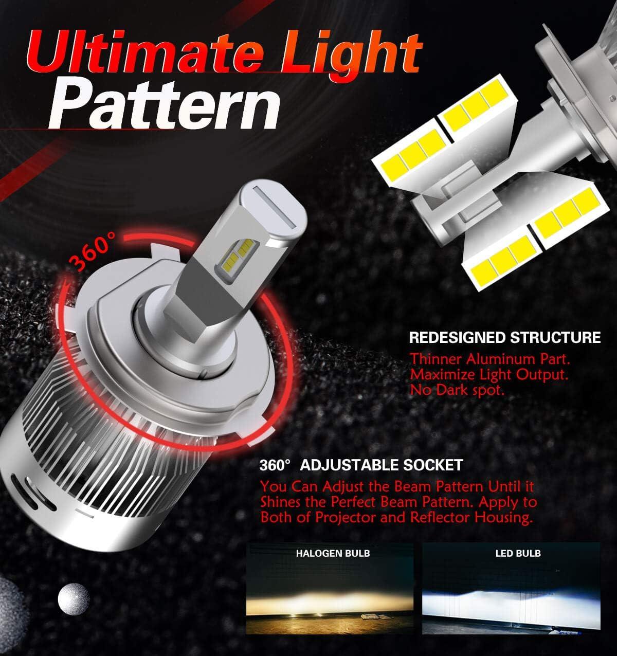 Plug/&Play LASFIT H4 9003 LED Headlight Bulbs Dual Beam Hi//Lo HB2 LED Bulbs 60W 6000LM 6000K