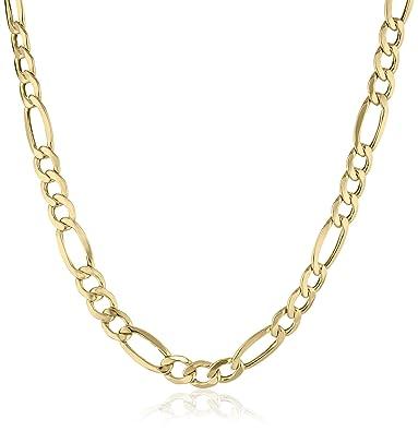 Mens 10k Yellow Gold 7mm Figaro Chain 22 Amazoncom