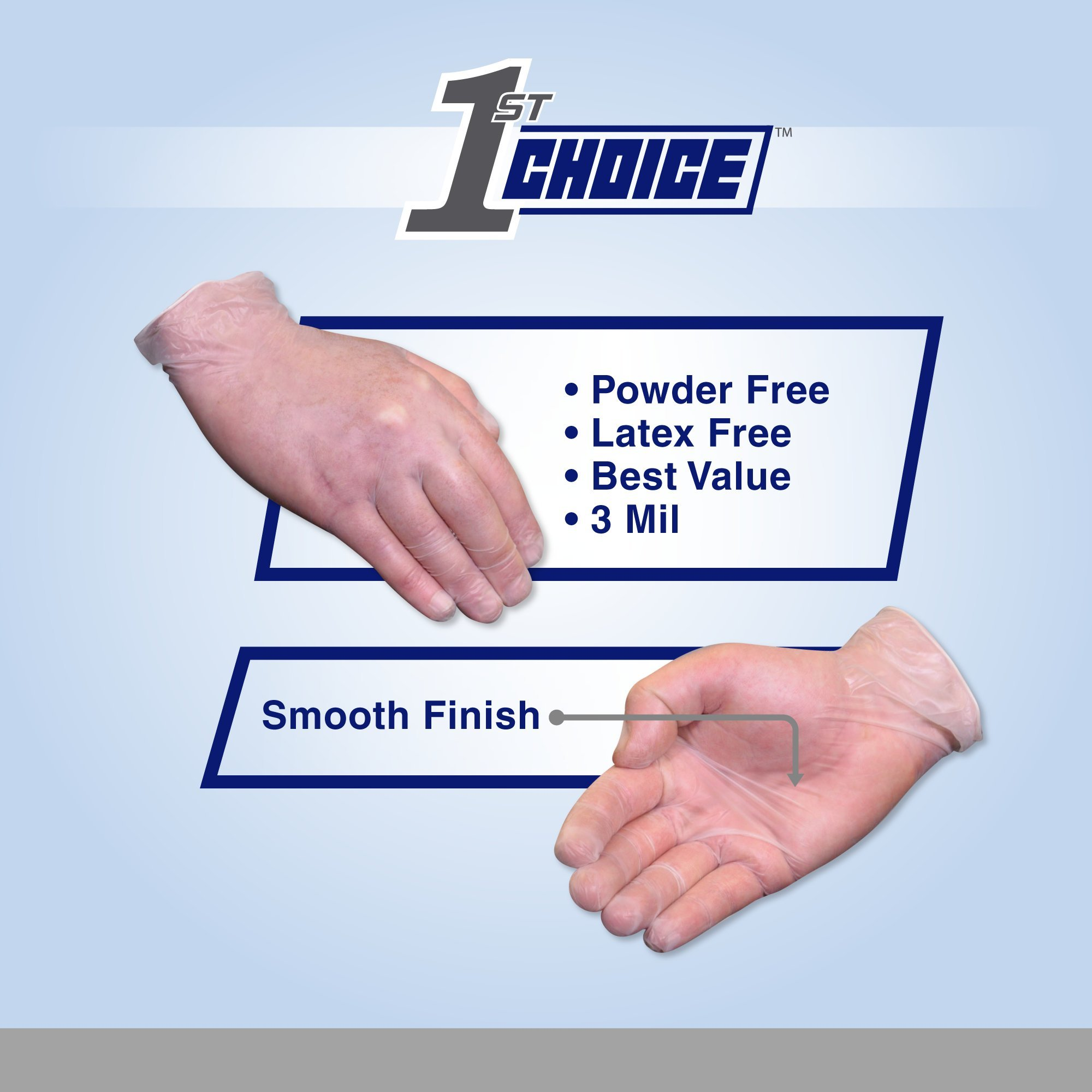 1st Choice Clear Vinyl 3 Mil Thick Disposable Gloves, Medium, Case of 1000 - Medical/Exam Grade, Powder-Free by 1st Choice (Image #3)