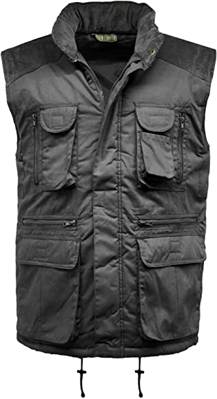 NAVY BLUE MENS PADDED BODYWARMER CORDUROY SHOULDERS WORK QUILTED WARM GILET