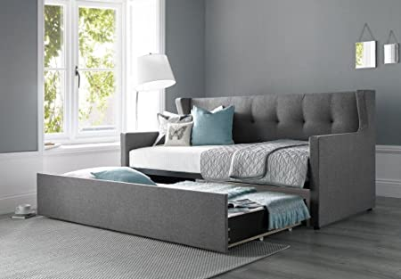 Happy Beds Hunter Day Bed Grey Fabric Guest Bed Sofa with 2 x Spring
