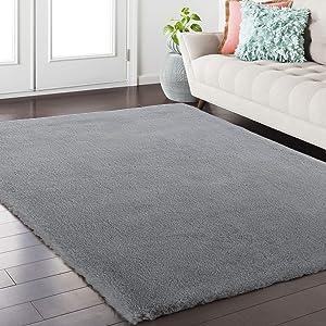 Softlife Fluffy Faux Fur Area Rug 4ft x 6ft Soft Bedroom Rugs for Girls Kids Room Living Room Home Decor Floor Carpets, Grey