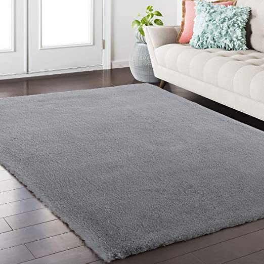 Softlife Fluffy Faux Fur Rug 3' X 5' Soft Area Rugs For Bedroom Girls Room Living Room Home Decor Floor Carpets, Grey Rectangle by Softlife