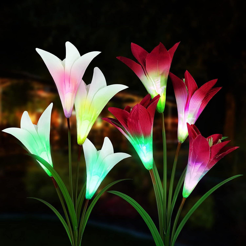 Sooair Luz de jardín solar, 2 piezas Luces Solares de Jardín Lirios Flores Luz Solar con 8 Flores, Flor LED luces solares para exteriores lámparas Energía Solar para Jardín, Patio, Decoración