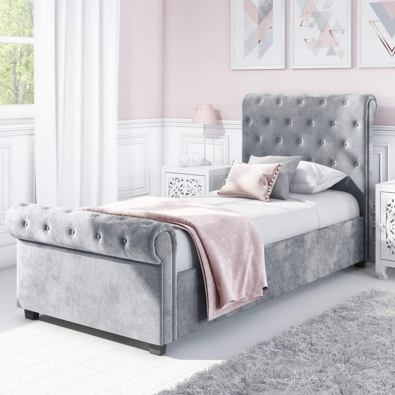 - Safina Roll Top Single Sleigh Bed In Grey Velvet: Amazon.co.uk