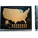Scratch off Map of The United States - 18 x 24 inches Thick Poster Paper - Black & Gold Foil - 1 Unit - (P.S. Adventure More)
