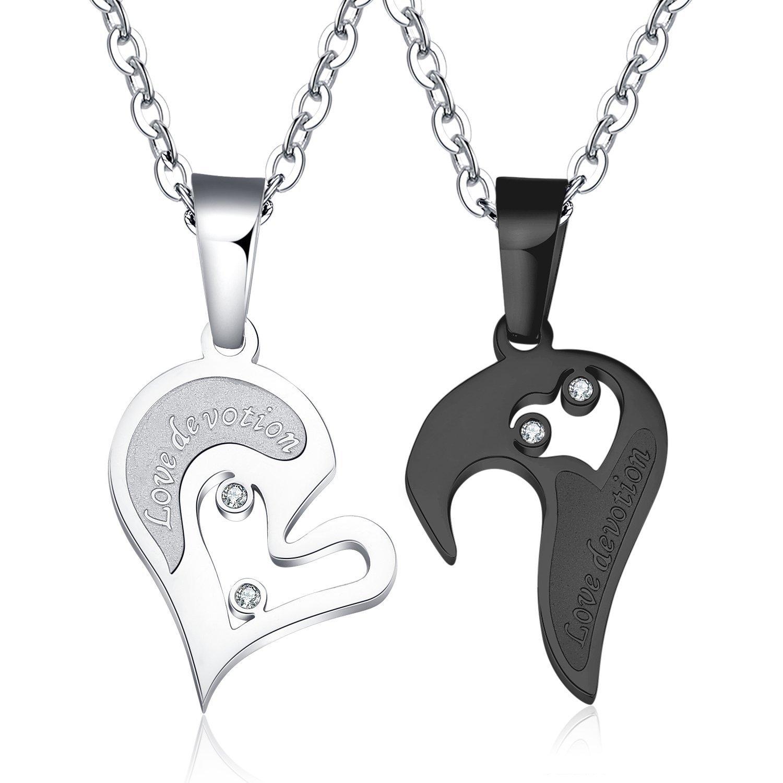 84a727bb7c Amazon.com: JAJAFOOK 2PCS/PACK Unisex Stainless Steel CZ Heart-shape Love  devotion Puzzle Couple Pendant Necklace Matching Set: Jewelry