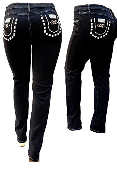 Amazon.com: Rico para mujer Plus tamaño negro elástico ...