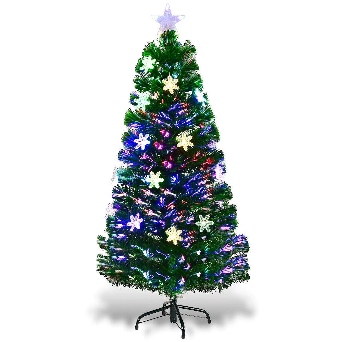 Goplus Pre Lit Fiber Optic Artificial Christmas Tree With