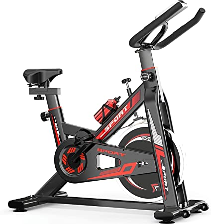 QQLK Bicicleta EstáTica Indoor - Bicicleta De Spinning - Ejercicio Bicicleta, Freno Silencioso, Ajuste De Velocidad Continuo, Asiento Ajustable, Carga 150 Kg: Amazon.es: Hogar