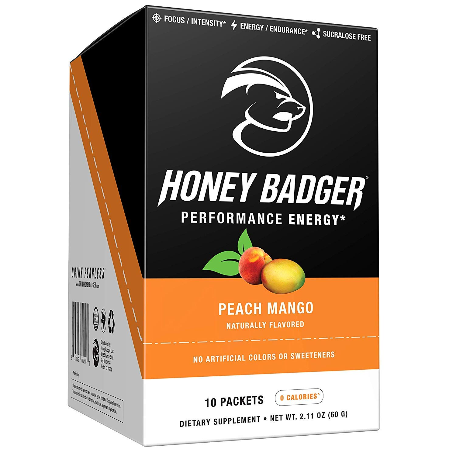 Honey Badger Performance Energy Natural Pre Workout for Men & Women (Peach Mango, 30 Servings, Sugar Free, Sucralose Free, Naturally Flavored & Sweetened, ...
