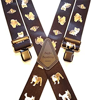 Mens Braces Heavy Duty 1.5 or 2 Large Dog Dogs Dinner Suit Trousers Black Clip