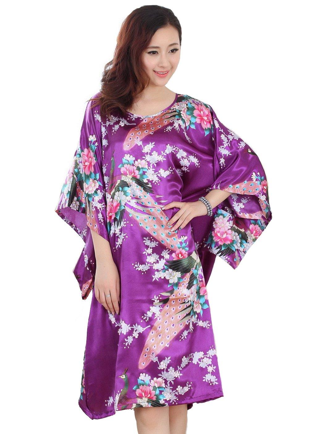 JTC Women's Peacock Flower Sleepwear Kimono Robe Nightdress (Flower Black)