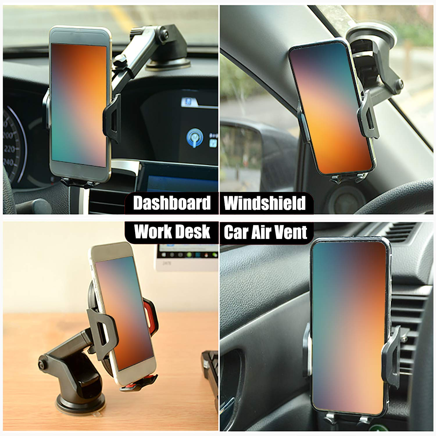 Auto-Clamping Phone Mount Cradle with Suction Cup on Dashboard Air Vent Windshield Compatible for iPhone,Samsung and More Smartphone from 4.0 in to 7.0 in Gray Nictrue Car Phone Holder for Car
