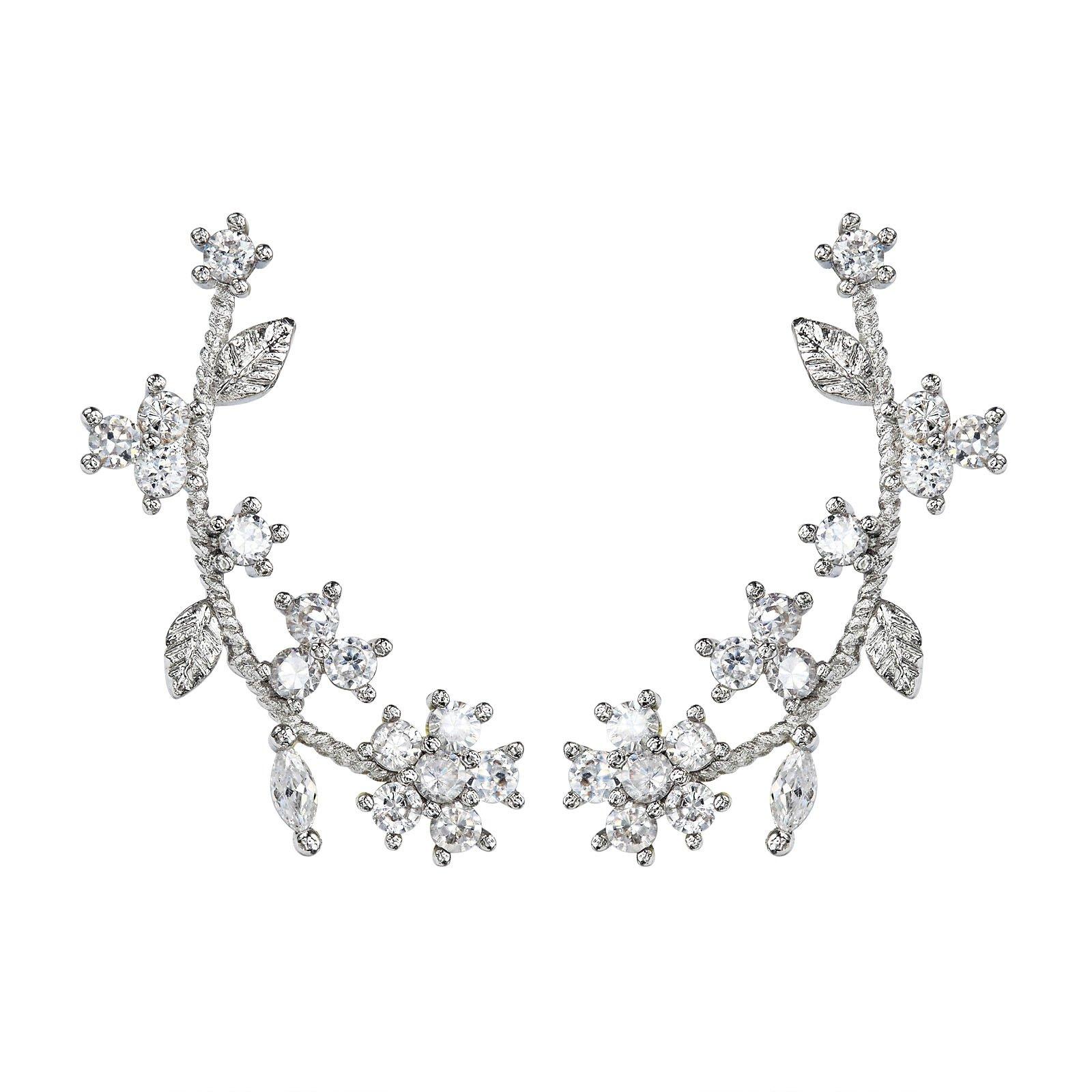 Flower Ear Cuff Earring with S925 Sterling Silver Post for Women - Cubic Zirconia Ear Crawler Wrap Earrings Silver Tone