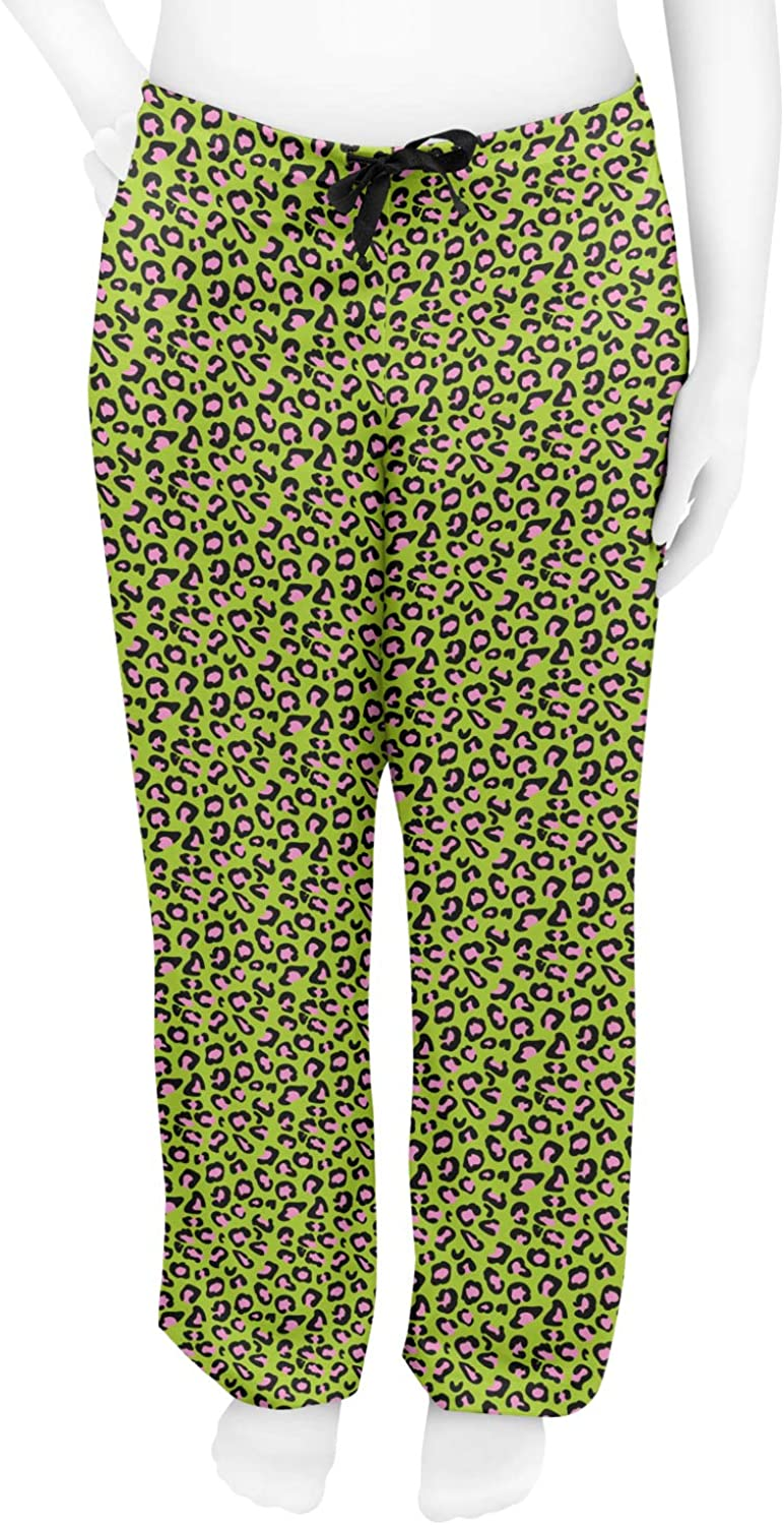 L Personalized RNK Shops Pink /& Lime Green Leopard Womens Pajama Pants