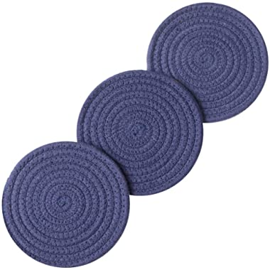 Lifaith 100% Cotton Thread Weave Pot Holders, Hot Pads, Pot Holders, Spoon Rest, Jar Opener & Coasters, for Cooking and Baking, Diameter 7 Inches, Round, Set of 3 (Dark Blue, 7 )