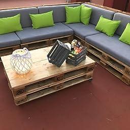 Pack de 2 colchonetas para sofas de palet y respaldo Naranja ...