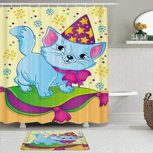 MTevocon Juegos de Cortinas de baño con alfombras