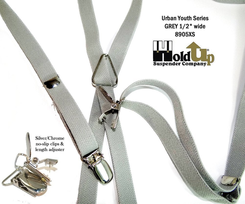 Urban Youth 1/2'' Hold-Up Suspender in X-back with No-slip Clips (Grey) by Hold-Up Suspender Co. (Image #1)