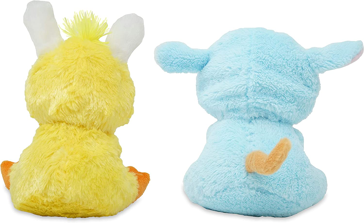 Set of 2 Bunny /& Kitty Dressed in Easter Animal Costumes with Easter Eggs Play 4 Fun Messages When Squeezed Hide /& Peepers 9 Inches Cuddle Barn