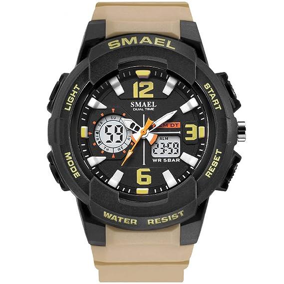 Beydodo Reloj Impermeable Relojes Unisex Reloj Hombre Moda Reloj Deportivo Reloj Multifunción Relojes Electronicos Caqui: Amazon.es: Relojes