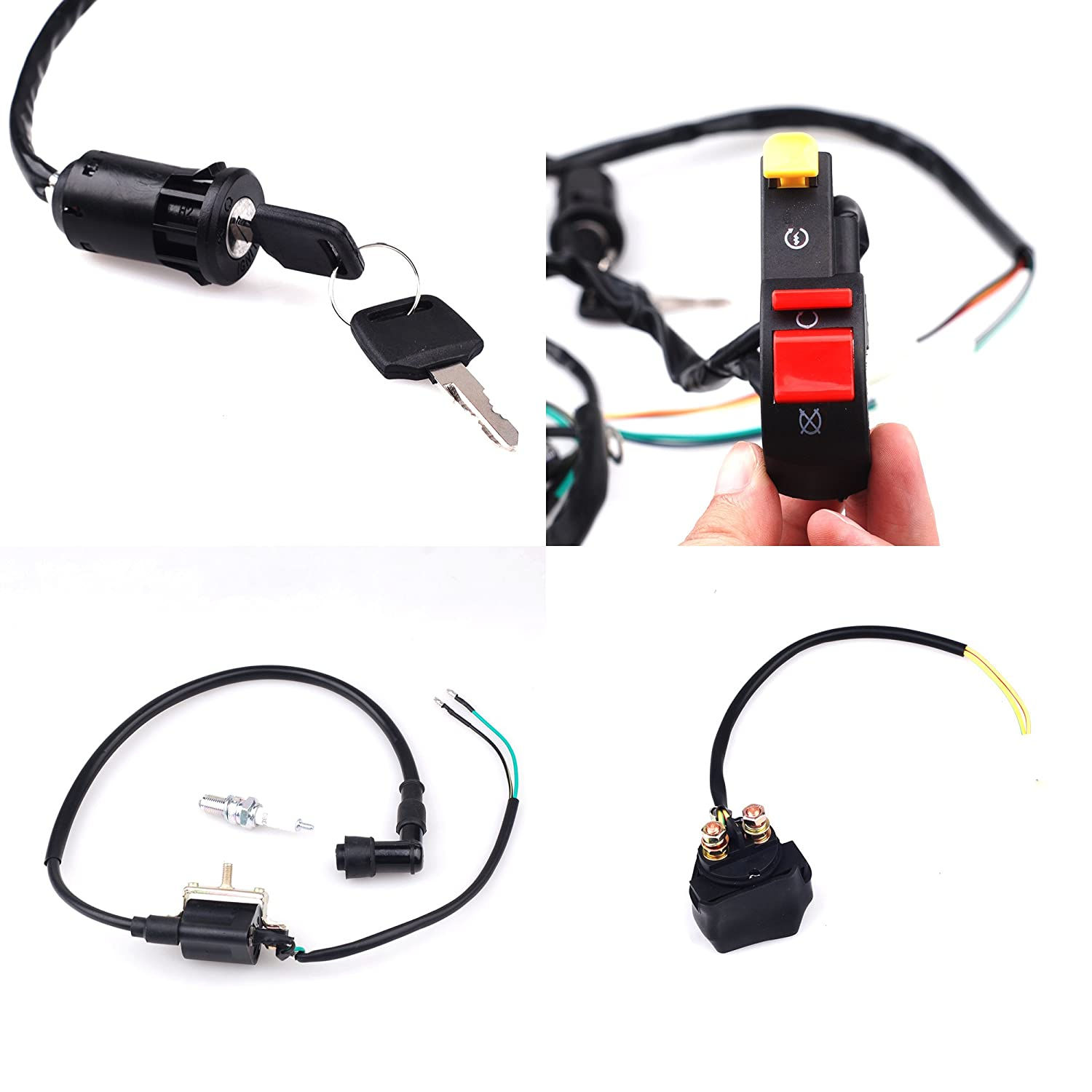 CISNO Complete Electrics CDI Coil Wiring Loom Harness Kick for 50cc 110cc 125cc ATV Dirt Bike