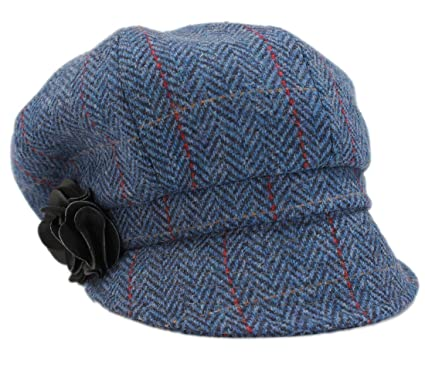 608a58c1 Mucros Women's Newsboy Cap Blue Herringbone 100% Wool Made in Ireland