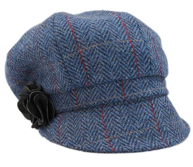 ef54a592eda Mucros Women s Newsboy Cap Blue Herringbone 100% Wool Made in Ireland