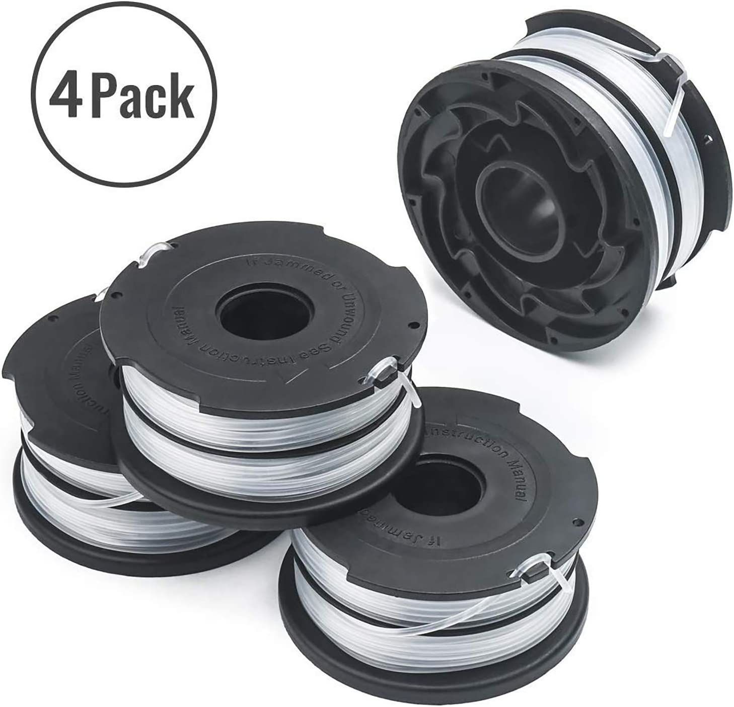 "Thten 90517175 Replacement String Trimmer Spools for Black Decker DF-065 GH710 GH700 GH750 Weed Eater Refills Line 36ft 0.065"" Auto-Feed Dual Line Edger Parts (4 Pack)"