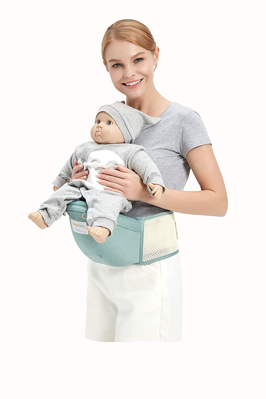 Grey Waist Packs /& Cotton Burp Cloth 2 in 1 Lightweight /& Ergonomic Baby Waist Seat for 0-36 Months Jerrybaby Baby Carrier with Hip Seat
