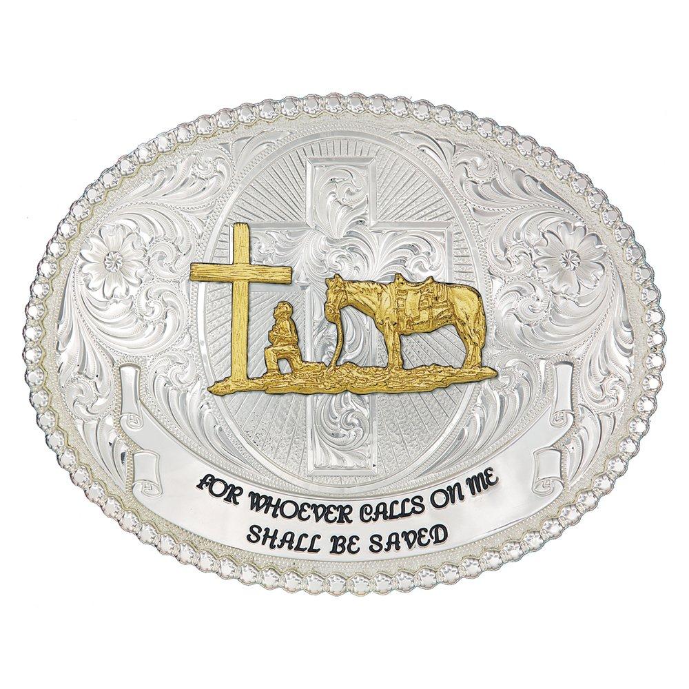 Faith and Wisdom Western Belt Buckle with Christian Cowboy (60889-731-V2-BL)